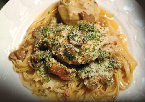 Chicken Portobello with Linguine